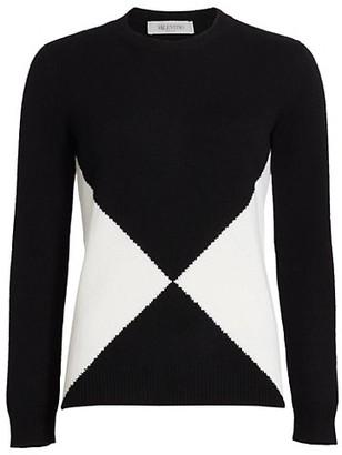 Valentino Diamond Cashmere Knit Pullover Sweater