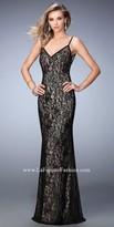 La Femme Rhinestone Sheer Lace Prom Dress