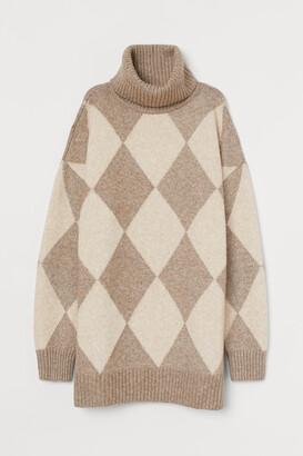 H&M Jacquard-knit polo-neck jumper