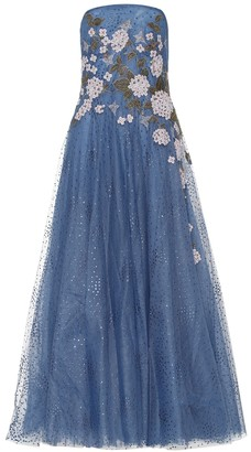 Costarellos Elette embroidered tulle gown