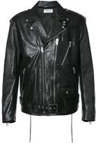 Saint Laurent signature motorcycle jacket - men - Cotton/Calf Leather/Cupro - 48