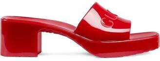 Gucci Logo Low-Heel Slide Sandals