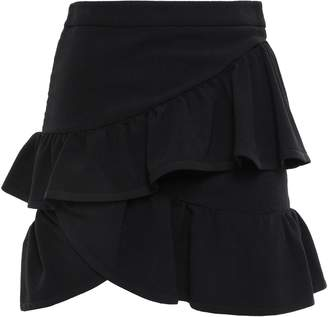 IRO Mica Wrap-effect Ruffled Crepe Mini Skirt