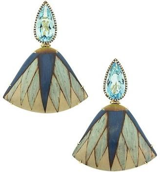 Silvia Furmanovich Marquetry 18K Yellow Gold, Blue Topaz, Light Brown Diamond & Wood Fan Earrings