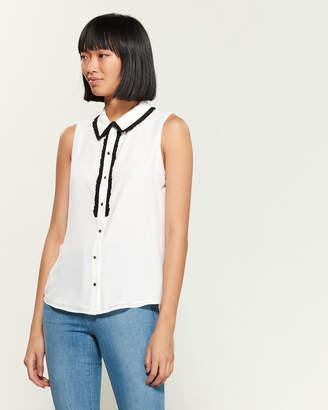 Karl Lagerfeld Paris Ruffled Collar Sleeveless Top