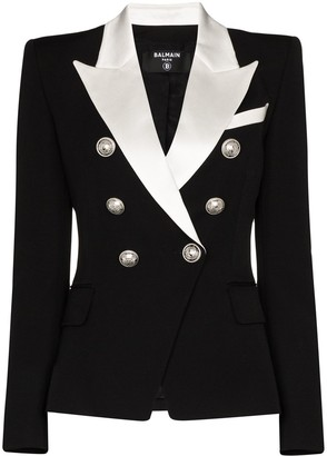 Balmain Contrast Lapel Double-Breasted Blazer