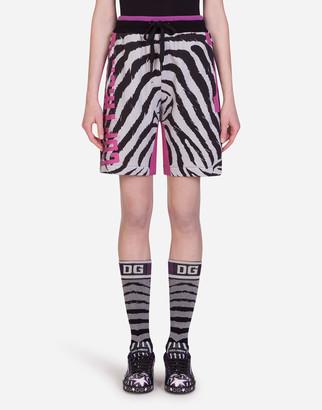 Dolce & Gabbana Jersey Bermuda Shorts With Zebra Jungle Sport Print