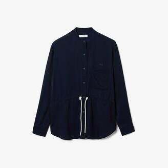 Lacoste Women's Relaxed Fit Adjustable Waist Flowy Mao Collar Shirt