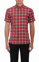 Neil Barrett MEN'S PLAID COTTON PIERCED SLIM-FIT SHIRT