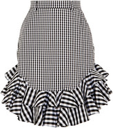 House of Holland Ruffled Gingham Cotton-poplin Mini Skirt - Black