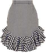 House of Holland Ruffled Gingham Cotton-poplin Mini Skirt - UK12