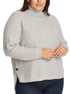 1 STATE Trendy Plus Size High-Low Turtleneck Sweater