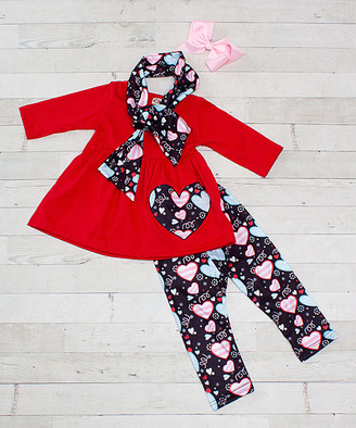 Dress Up Dreams Boutique Girls' Leggings Red/Black/Blue - Red & Black Heart Leggings Set - Infant, Toddler & Girls