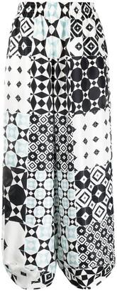 Giorgio Armani Geometric-Print Silk Palazzo Pants