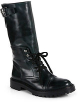Belstaff Barrow Leather Lace-Up Mid-Calf Boots