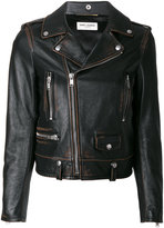 Saint Laurent Classic Bouche motorcycle jacket - women - Cotton/Calf Leather/Polyester/Cupro - 38