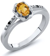 Gem Stone King 0.41 Ct Oval Yellow Citrine Black Diamond 925 Sterling Silver Ring
