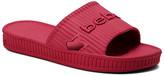 Bebe bebe Women's Sandals Red - Red Textured Logo Craze Slide - Women