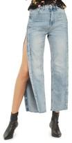 Topshop Women's Side Snap Straight Leg Jeans