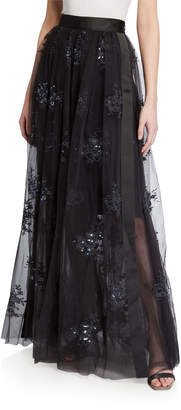 Brunello Cucinelli Tulle Sequin Floral Applique Maxi Skirt