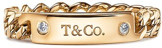 Tiffany & Co. micro link ring in 18k gold with diamonds, 3.7 mm wide