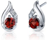 Peora Garnet Earrings Sterling Silver Round Checker Cut 1.50 Carats