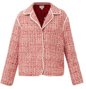 Giambattista Valli Piped Wool-blend Boucle Jacket - Red White