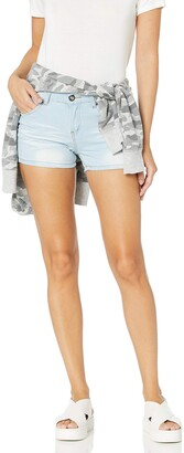 Cover Girl Junior's Cute Jeans Shorts for Teens Mid Rise Waisted Blue Acid Wash