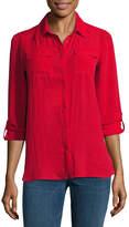 A.N.A 3/4 Sleeve Button-Front Shirt - Tall