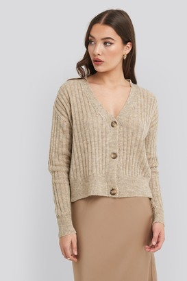 NA-KD Button Up Ribbed Cropped Cardigan