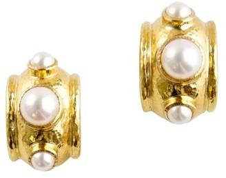 Elizabeth Locke 19K Yellow Gold & 5-8MM Freshwater Pearl Hoop Earrings