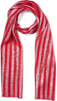 Gucci Striped Silk-blend Lamé Scarf - Red