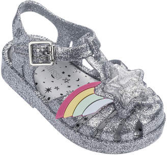 Mini Melissa Possession III Glittered Star Cutout Sandal, Baby/Toddler/Kids