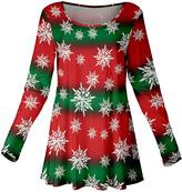 Azalea Red & Green Stripe Snowflake Scoop Neck Tunic - Plus Too