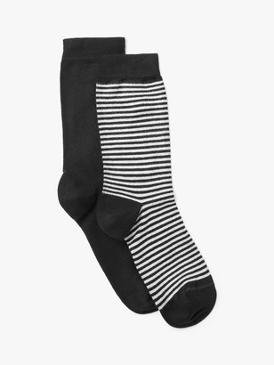 John Lewis & Partners Feeder Stripe and Monochrome Wide-Fit Ankle Socks, Pack of 2, Black/Multi