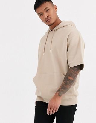 BEIGE Asos Design ASOS DESIGN short sleeve oversized hoodie in