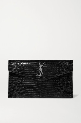 Saint Laurent Uptown Croc-effect Patent-leather Pouch - Black