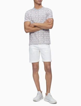Calvin Klein Straight Fit White Denim Shorts