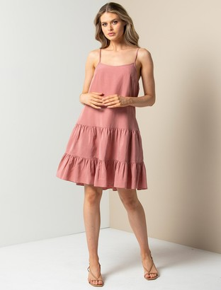 Forever New Toni Tiered Mini Dress - Rosy Pink - 10