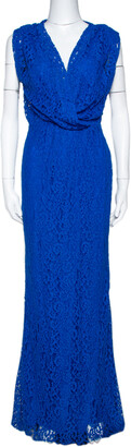 Carolina Herrera Cobalt Blue Floral Lace Draped Gown S