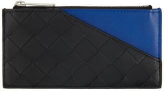 Bottega Veneta Black and Blue Intrecciato Zip Card Holder