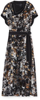 Proenza Schouler Foil-Printed Button-Front Dress