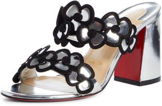 Christian Louboutin Tres Pansy Flower Block Heel Sandal