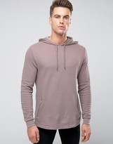 Asos Hoodie In Waffle With Zip Pockets