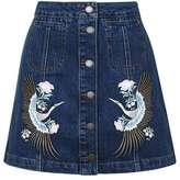 Moto denim embroidered skirt