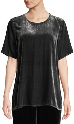 Eileen Fisher Petite Short-Sleeve Velvet Box Top