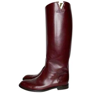 Louis Vuitton Burgundy Leather Boots