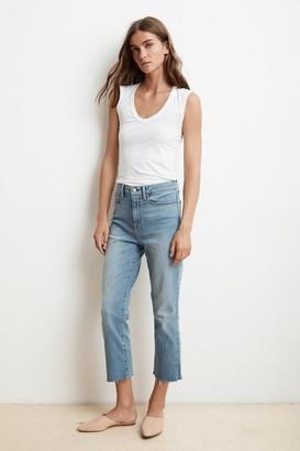 Velvet by Graham & Spencer Karolina Hi Rise Straight Leg Cut Off Jeans