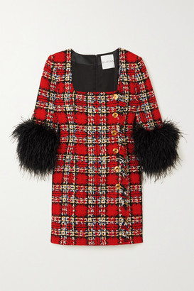 Halpern Feather-trimmed Embellished Checked Tweed Mini Dress - Red