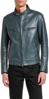 Tom Ford Men's Leather Mandarin-Collar Biker Jacket